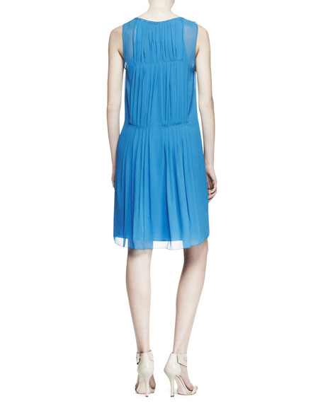 Sleeveless Pleated Drop-Waist Shift Dress