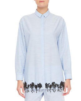 No.21 Beaded Long-Sleeve Collared Button-Up Blouse, Blue