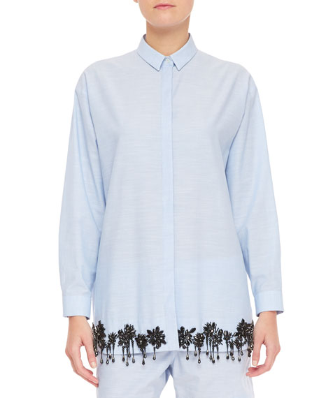 Beaded Long-Sleeve Collared Button-Up Blouse, Blue