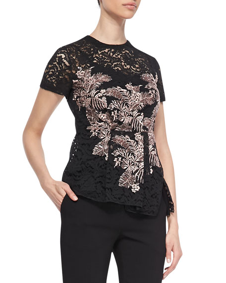 Short-Sleeve Leaf-Embroidered Lace T-Shirt with Peplum