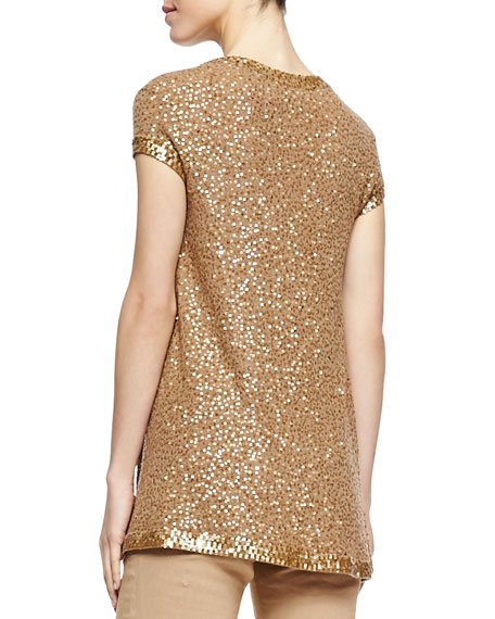 Sequined Cashmere Cap-Sleeve Tunic