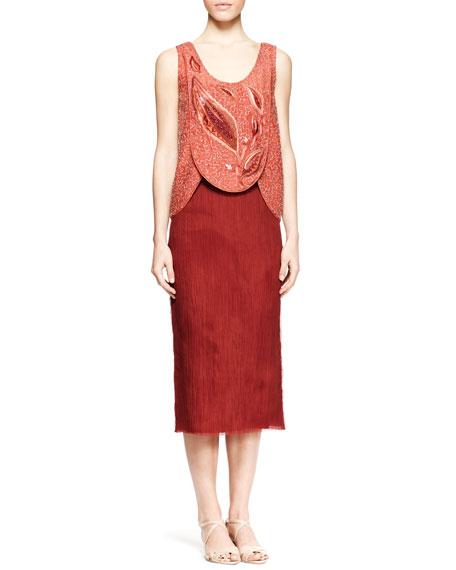 Ahbria Crinkled Midi Skirt, Auburn