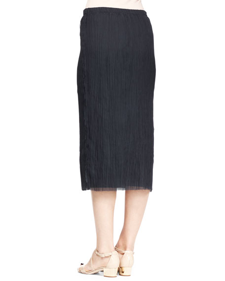 Ahbria Crinkled Midi Skirt, Ink