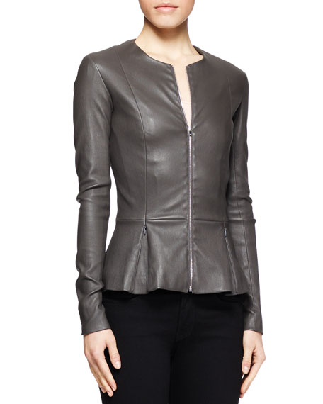 Anasta Leather Peplum Jacket, Charcoal