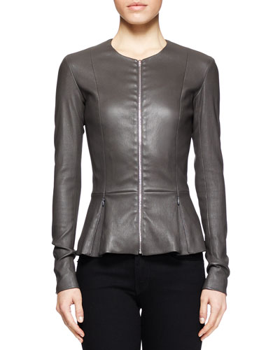 THE ROW Anasta Leather Peplum Jacket, Charcoal