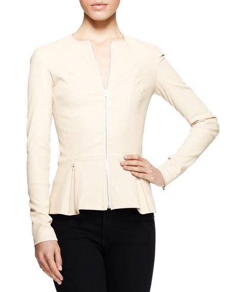 Anasta Leather Peplum Jacket, Cord
