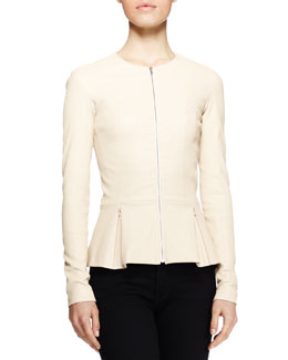 THE ROW Anasta Leather Peplum Jacket, Cord