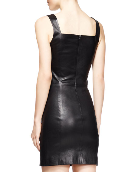 Gwenna Fitted Leather Dress, Black