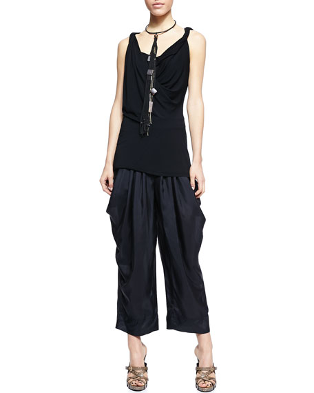 Wide-Leg Silk Pants with Draped Pockets