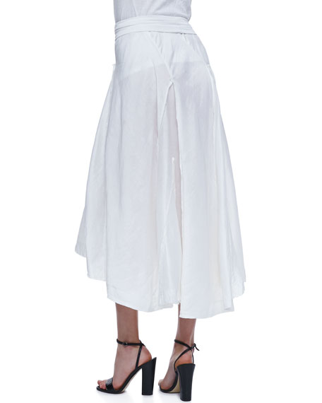 Linen-Silk Skirt with Jersey Waist