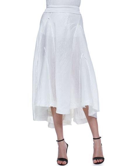 Linen-Silk Skirt with Jersey Waist
