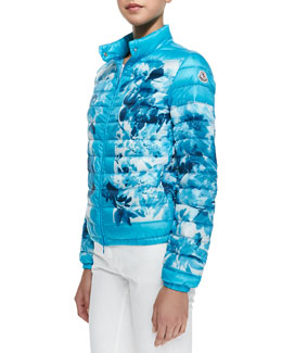 Moncler Printed High-Neck Puffer Jacket