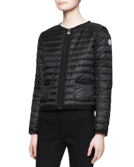 Long-Sleeve Short Puffer Jacket, Black