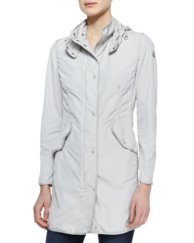 Moncler Long Snap-Front Jacket, Stone