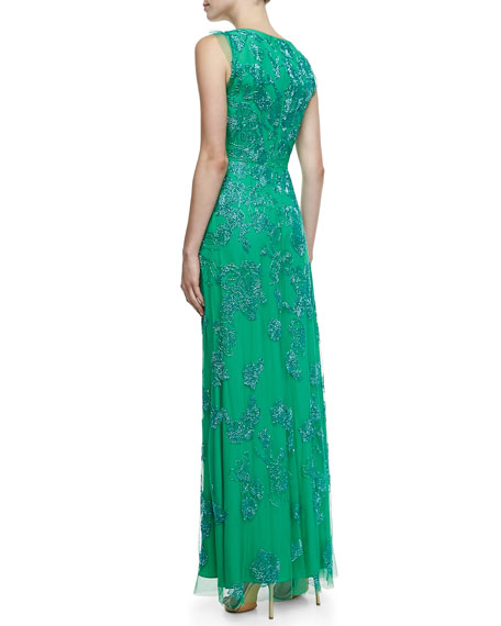 Beaded Draped Column Gown, Calypso Green