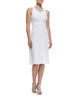 Jenny Packham Twist-Front Dress with Bejeweled Collar, Alabaster White
