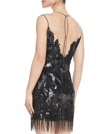 Sequined Dress with Beaded Fringe