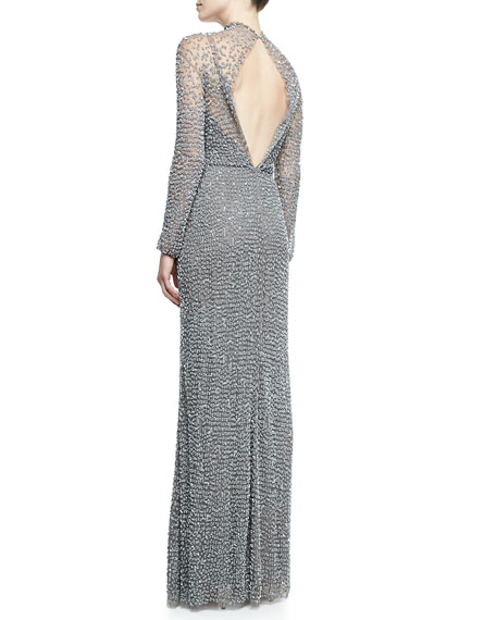Open Back Long-Sleeve Beaded Gown, Turtle Dove Gray