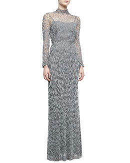 Jenny Packham Open Back Long-Sleeve Beaded Gown, Turtle Dove Gray