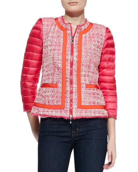 Tweed-Front Puffer Jacket, Fuchsia