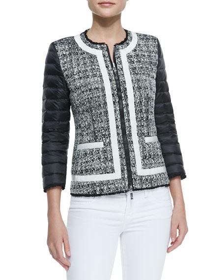Tweed-Front Puffer Jacket, Black