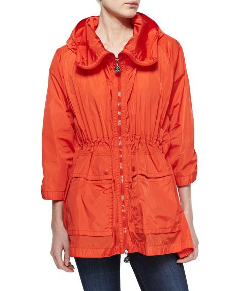 Nylon Hooded Zip Jacket, Orange