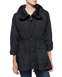 Moncler Hooded Front-Zip Jacket, Black