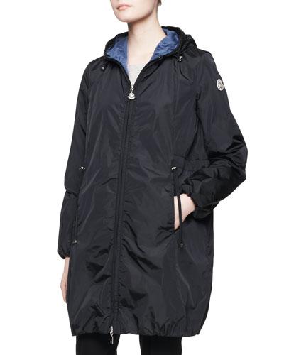 Moncler Long-Sleeve Long Zip Jacket, Navy