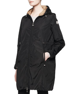 Moncler Long-Sleeve Long Zip Jacket, Black
