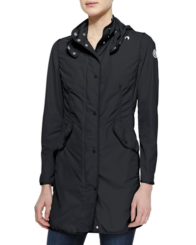 Moncler Long Snap-Front Jacket, Black