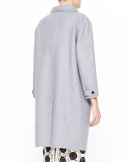 Double-Faced Cashmere Caban Coat, Light Gray Melange