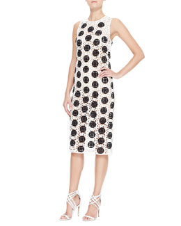 Burberry Prorsum Spotted Curlicue Embroidered Lace Midi Dress, Black/White