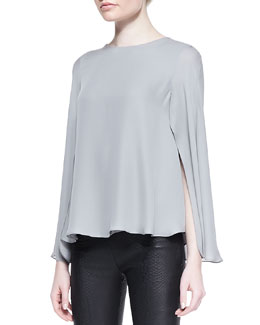 Cushnie et Ochs Silk Double Georgette Cape Blouse, Gray