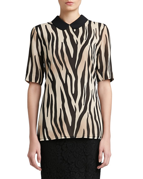 Tigre Print Silk Georgette Elbow Sleeve Blouse with Silk CDC Collar & Side Slits