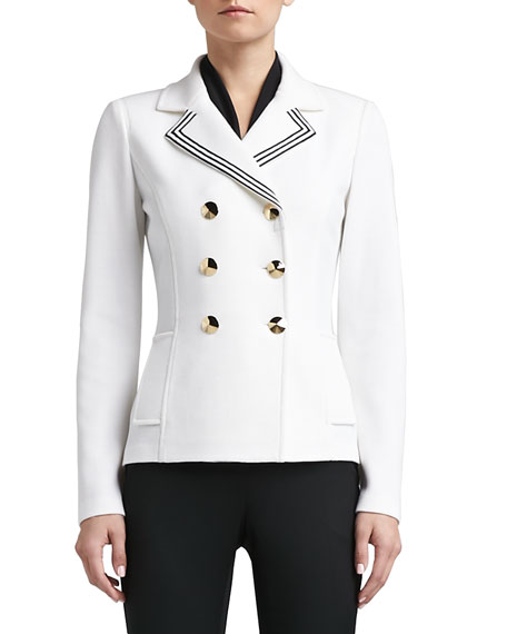 Double Milano Knit Double Breasted Pea Coat with Pockets and Striped Grosgrain Ribbon Trim