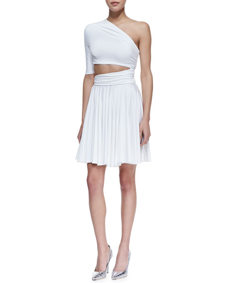 Dondi One-Shoulder Cutout Waist Dress, White