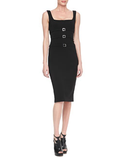 Cushnie et Ochs Buckled Power Viscose Sheath Dress