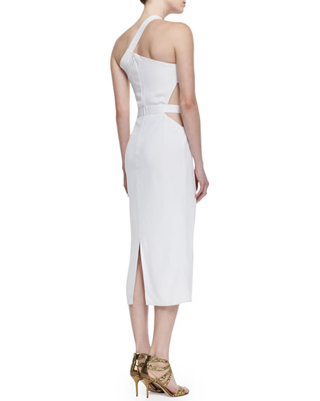 Matte One-Shoulder Dress with Cutout Waist, White