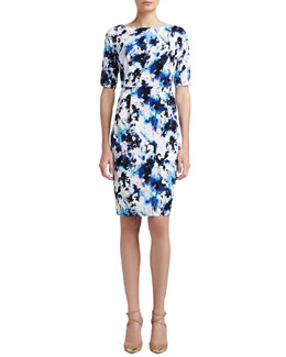St. John Collection Abstract Paisley Print Stretch Crepe de Chine Dress With Pleats
