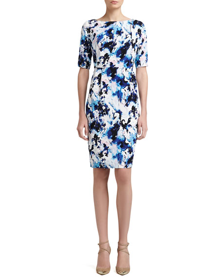 Abstract Paisley Print Stretch Crepe de Chine Dress With Pleats