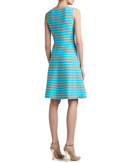 Striped Milano Knit Flounce Hem Dress with Soft Napa Leather Trim