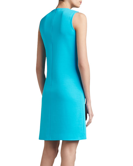 Milano Knit Jewel-Neck Trapeze Mod Dress