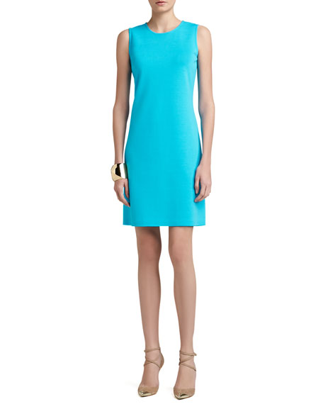 Milano Knit Jewel-Neck Trapeze Mod Dress