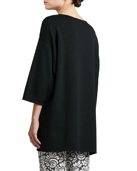 Milano Knit Bateau Neck 3/4 Sleeve Tunic with Maxi Tail, Caviar