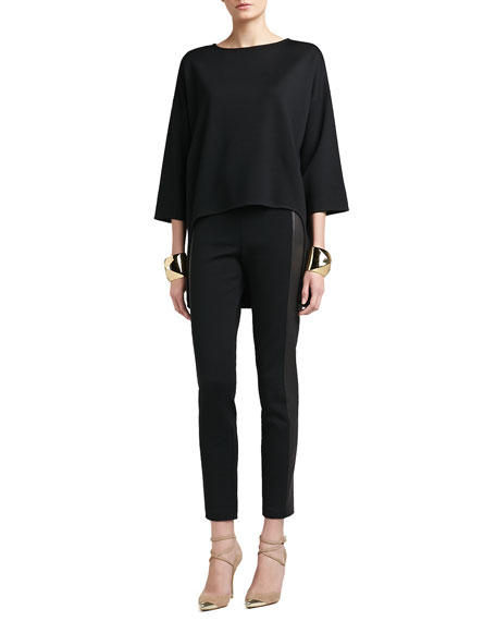 Stretch Milano Knit Slim Ankle Pant With Luxe Stretch Leather Side Panels