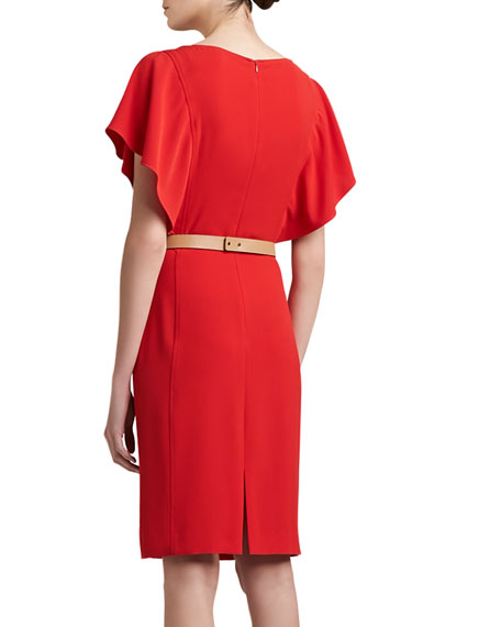 Luxe Crepe Bateau Neck Dress with Shoulder Ruffle and Back Slit