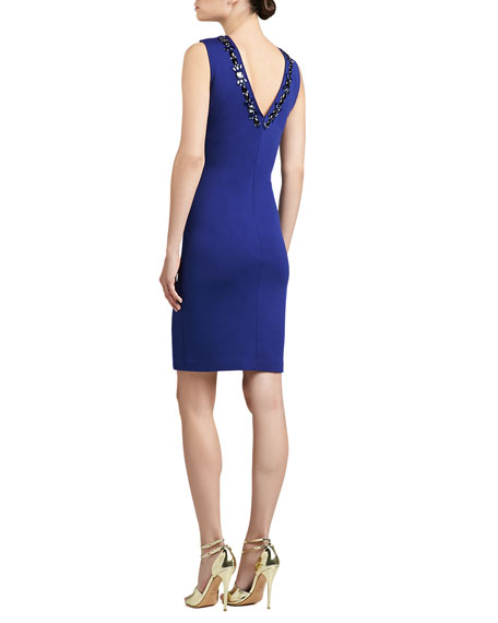 Milano Knit Sheath Dress with Back V-Neck and Hand Beading