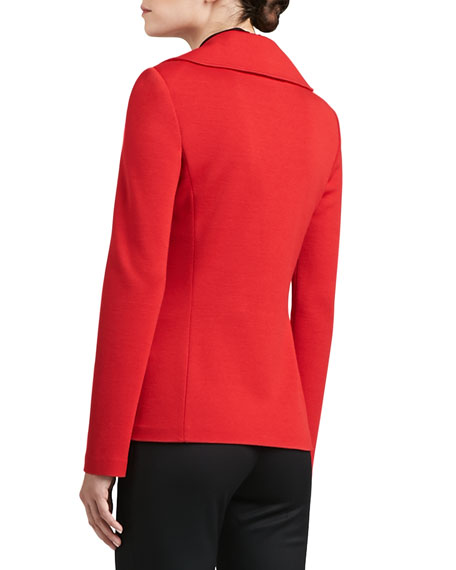 Milano Knit Double-Breasted Jacket with Patch Pockets
