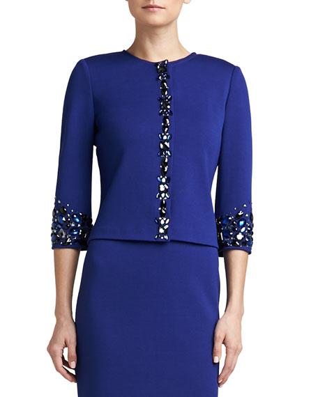 Milano Knit Jewel Neck 3/4-Sleeve Jacket with Hand Beading