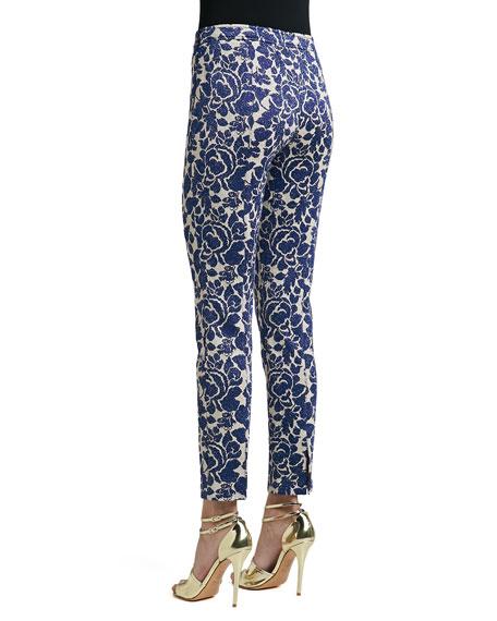 Metallic Rose Floral Jacquard Knit Slim Ankle Pants with Back Slits